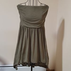 Edge olive Rayon high low Strapless dress size S